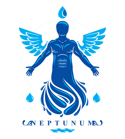 Vector graphic illustration of muscular human, individual made with bird wings. Pure water is free life
