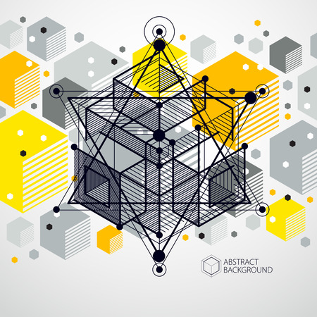 Vector of modern abstract cubic lattice lines yellow background. Иллюстрация