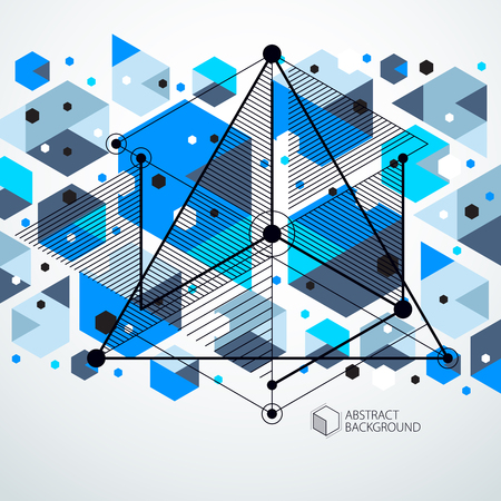 Mechanical scheme, blue vector engineering drawing with 3D cubes and geometric elements. Engineering technological wallpaper made with honeycombs. Illustration