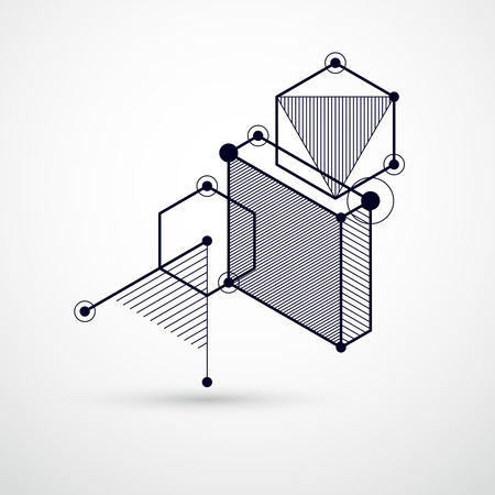 Vector drawing of black and white industrial system created with lines and 3D cubes. Modern geometric composition can be used as template and layout.  Illustration