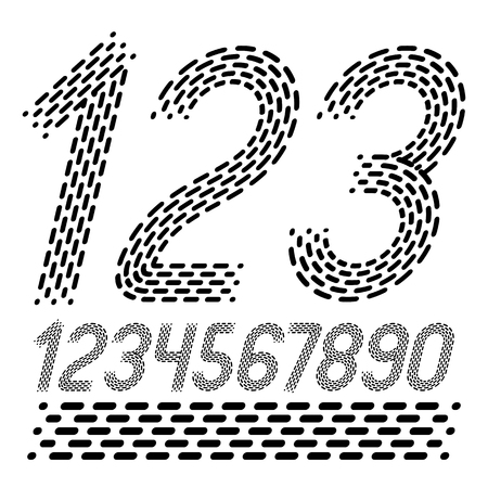 Vector numbers, modern numerals set. Rounded bold italic retro numeration from 0 to 9 can be used for logo creation. Made with parallel dashed lines.