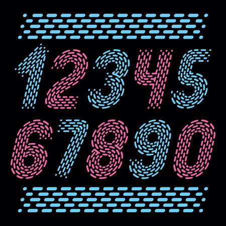 Vector numbers, modern numerals set. Rounded bold italic retro numeration from 0 to 9. Made using rhythmic strokes and dashed lines.