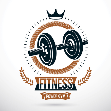 Vector symbol composed with dumbbell and royal crown, bodybuilding championship symbol