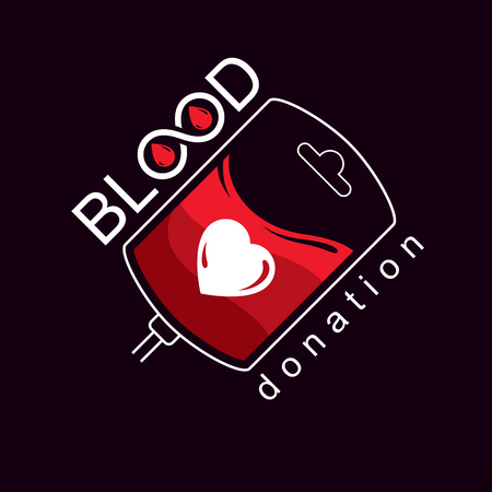 Vector illustration of blood bag prepared for blood donation. Charity and volunteer.
