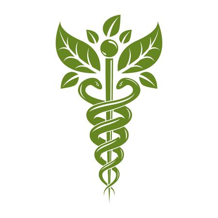 Caduceus symbol vector illustration. Homeopathy creative emblem. Illustration
