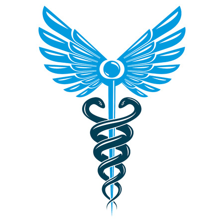 Caduceus symbol made using bird wings and poisonous snakes