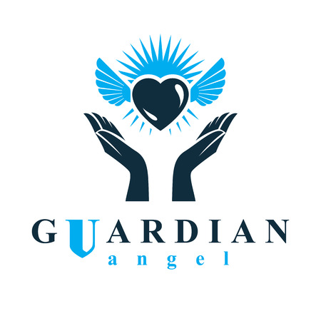 Loving heart in human hands, giving aid metaphor. Holy spirit graphic vector logo best for use in charity organizations. 向量圖像
