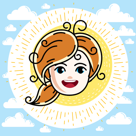 Caucasian type girl face expressing positive emotions. Beautiful redhead happy child with stylish haircut.  イラスト・ベクター素材