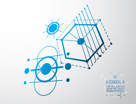 Engineering technological vector wallpaper made with circles and lines. Modern geometric artistic graphic composition can be used as template and layout. Abstract technical background.