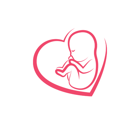 Newborn baby drawn vector illustration isolated on white.