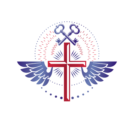 Christian Cross decorative emblem composed with security keys. Winged heraldic vector design element. Religious vintage art symbol, guardian angel.