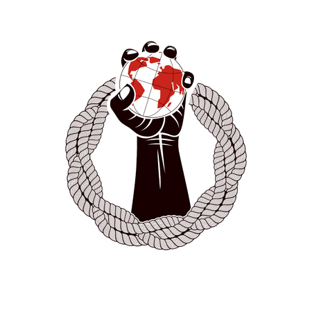 Muscular clenched fist of strong man surrounded by rope and holds Earth globe, vector illustration. Global authority as the means of political and social influence Illustration