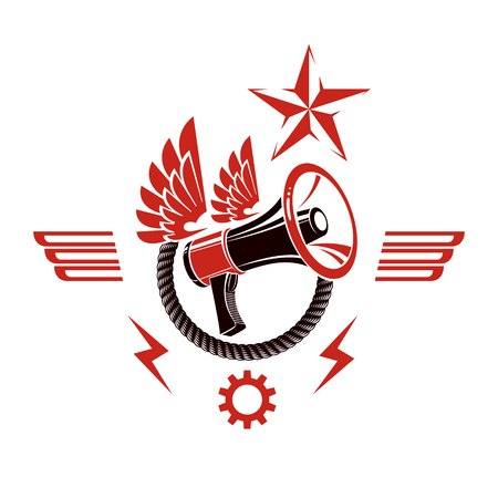 Decorative vector emblem composed with winged loudspeaker and rope. Propaganda as the means of manipulation and control, no restrictions conceptual emblem. Illustration