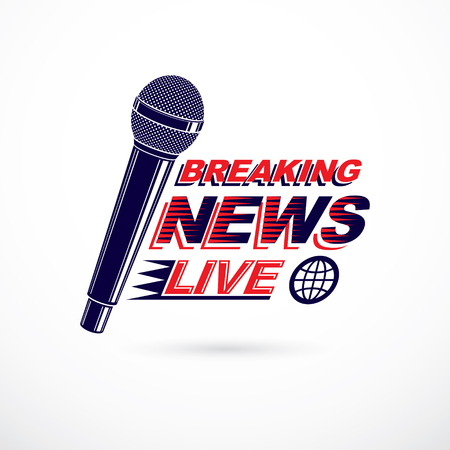 Hot news conceptual logo composed using breaking live news writing and press microphones.