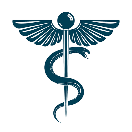 Caduceus symbol made using bird wings and poisonous snakes, healthcare conceptual vector illustration. Иллюстрация