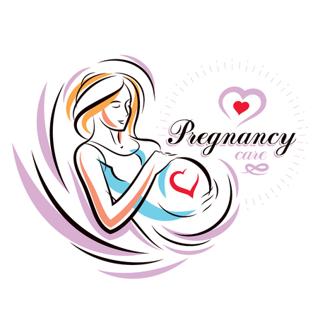 Pregnant female body shape hand drawn vector illustration, beautiful lady gently touching her belly. Maternity ward marketing poster