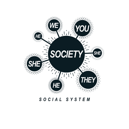 Social Relations conceptual logo, unique vector symbol. Society and Person, social interaction.  Illustration