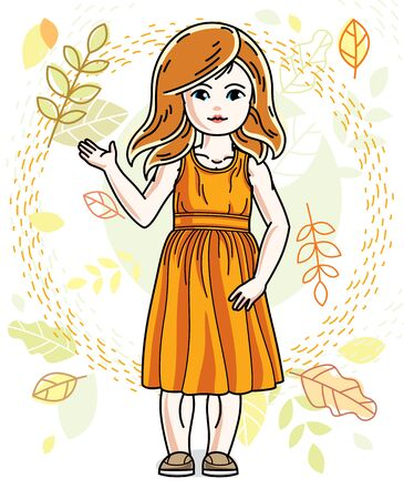 Pretty little redhead girl standing on background of autumn landscape and wearing different casual clothes. Vector pretty nice human illustration. Fashion theme clipart.