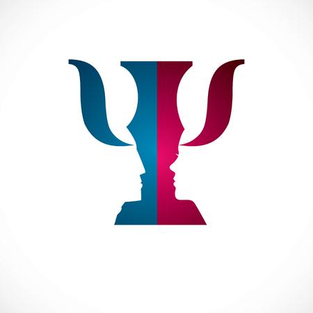 Concept de psychologie relationnelle créé avec des profils de têtes d'homme et de femme, logo vectoriel ou symbole des problèmes de genre et des conflits dans la famille, les proches et la société. Design simple de style classique. Banque d'images - 97323644