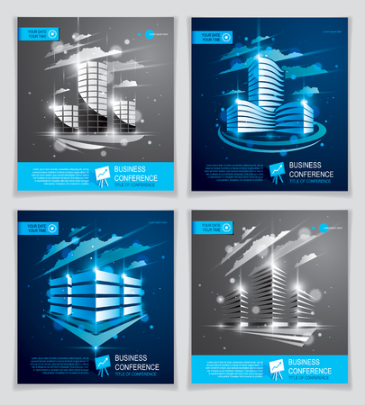 Office buildings brochures set, modern architecture vector flyers with blurred lights and glares effect.
