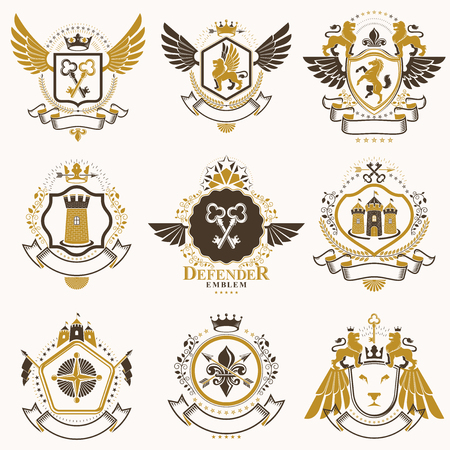 Collection of vector heraldic decorative coat of arms isolated on white and created using vintage design elements, monarch crowns, pentagonal stars, armory, wild animals. Иллюстрация