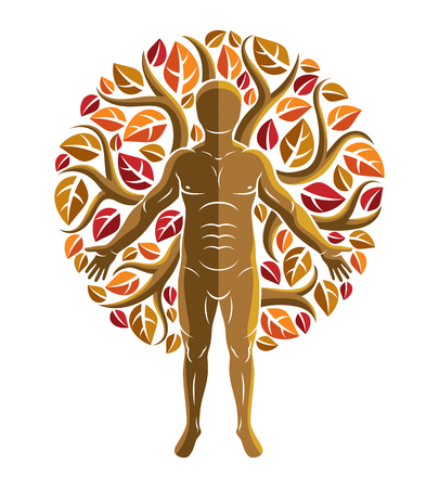Vector graphic illustration of muscular human, self created with autumn tree eco leaves. Healthy lifestyle, resort and spa.