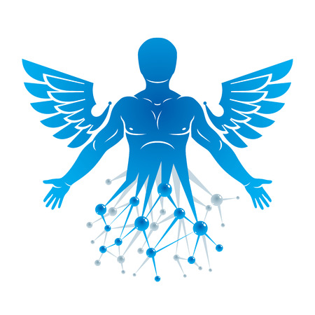 Vector graphic illustration of strong male created with wire-frame connections and bird wings. Biomedical engineering concept. Illustration