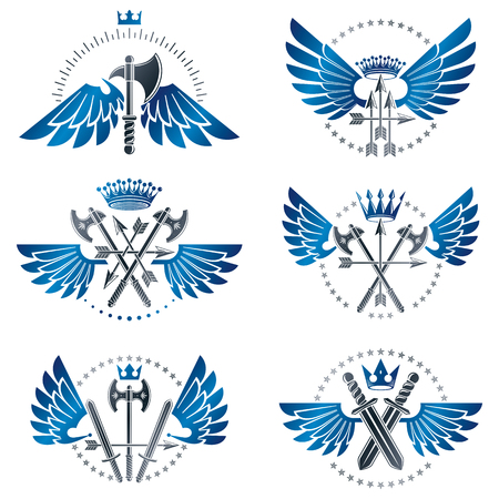 Vintage Weapon Emblems set. Heraldic coat of arms decorative emblems collection. Ilustração