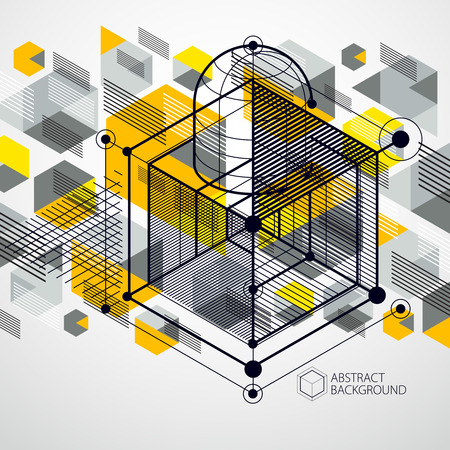 Trendy geometric vector pattern, textured abstract cube mesh yellow background.