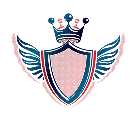 Blank heraldic coat of arms decorative emblem with copy space. Empty winged protection shield emblem created with imperial crown, isolated vector illustration.