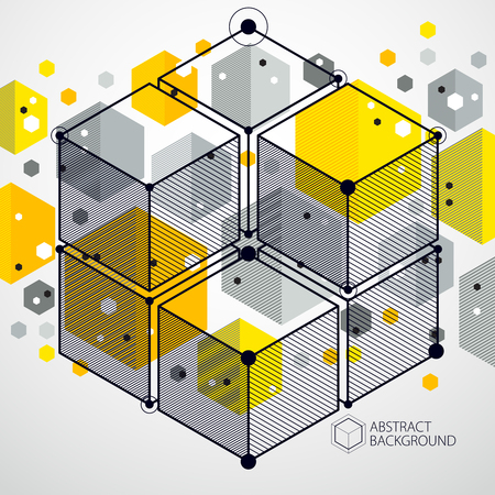 Abstract geometric vector yellow background with cubes and other elements. Composition of cubes, hexagons, squares, rectangles and abstract elements. Perfect background for your design projects.