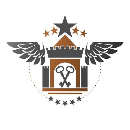 Ancient Bastion emblem. Heraldic vector design element. Retro style label, heraldry logo.