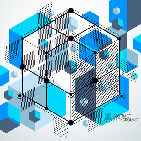 Vector of abstract geometric 3D cube pattern and blue background.