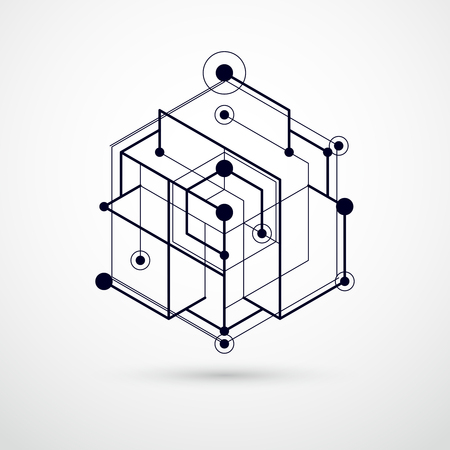 Vector minimalistische geometrische Schwarzweiss-Zusammensetzung der Zusammenfassung 3D in der futuristischen Art. Moderne geometrische Komposition kann als Vorlage und Layout verwendet werden. Vektorgrafik