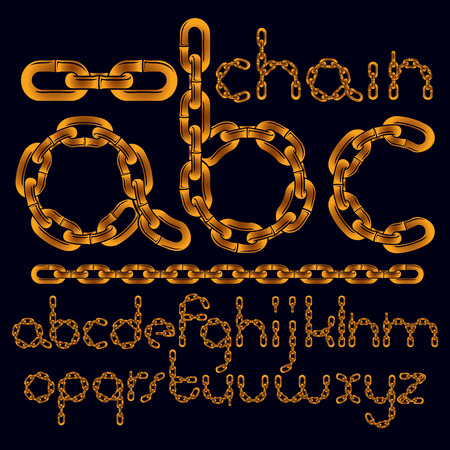 Vector font, trendy typescript can be used in poster creation. Lower case modern letters, abc made with iron chain, linked connection. Ilustração