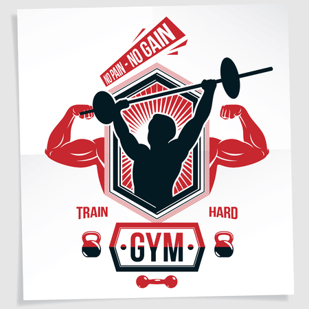 Power lifting competition poster created with vector illustration of muscular bodybuilder holding barbell sport equipment. No pain, no gain quote.