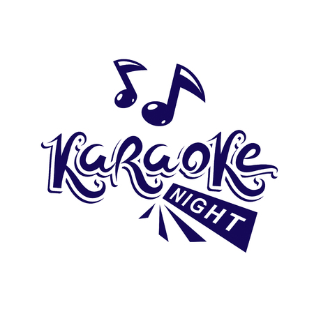 Karaoke night advertising flyer, vector poster composed using musical notes. Illustration