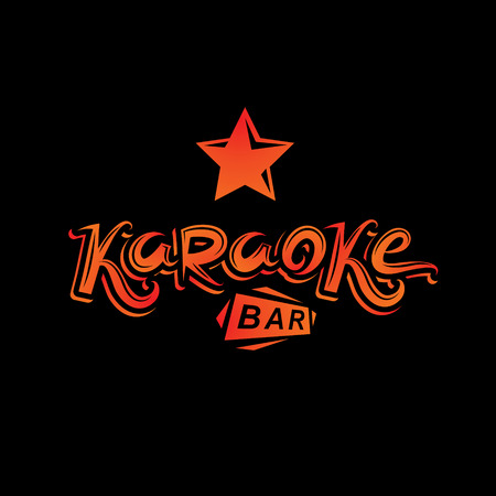 Karaoke bar calligraphy lettering, can be used as design element for musical karaoke performance template Illustration