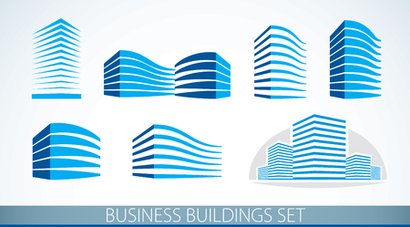 Futuristic buildings set, modern style vector architecture illustrations collection. Real estate realty business center designs. 3D business office facades in city. Can be used as a logos or icons. Vettoriali