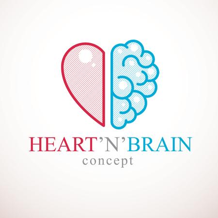 Concepto de corazón y cerebro, conflicto entre emociones y pensamiento racional, trabajo en equipo y equilibrio entre alma e inteligencia. Diseño de logotipo o icono de vector.