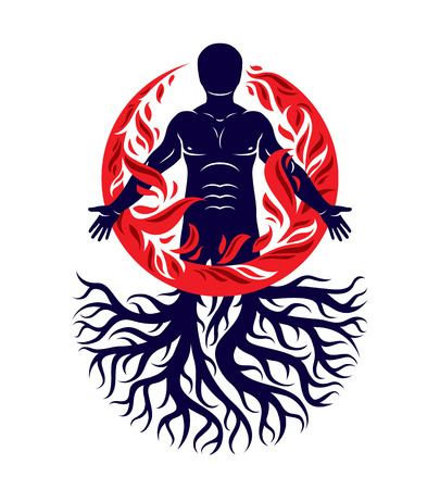 Vector illustration of human being created with tree roots. Human and nature harmony, fire man covered with a fireball. Stock Vector - 97602167