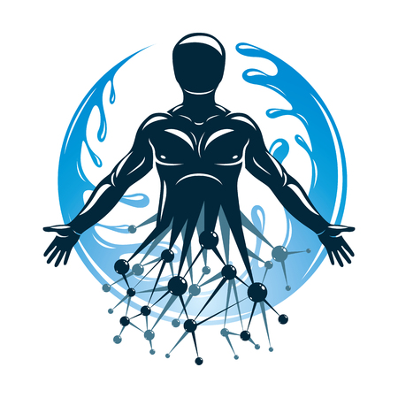 Athletic man vector illustration made using futuristic molecular connections and surrounded by a water ball. Eco friendly technology, renewable alternative energy concept.