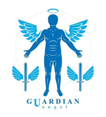 Vector individual, mystic character created with angel wings and halo. Seraph, belief in God is free as bird.