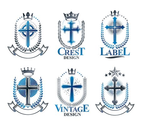 Christian Crosses emblems set. Heraldic vector design elements collection. Retro style label, heraldry logo.