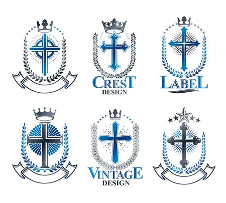 Christian Crosses emblems set. Heraldic vector design elements collection. Retro style label, heraldry logo.
