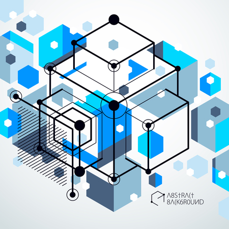 Vector drawing of blue industrial system created with lines and 3D cubes. Modern geometric composition can be used as template and layout.