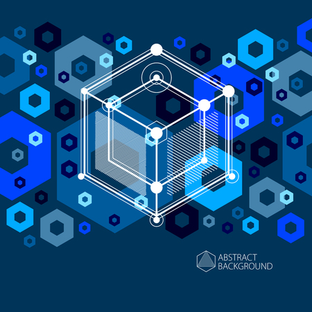 Vector drawing of blue black industrial system created with lines and 3D cubes. Modern geometric composition can be used as template and layout.