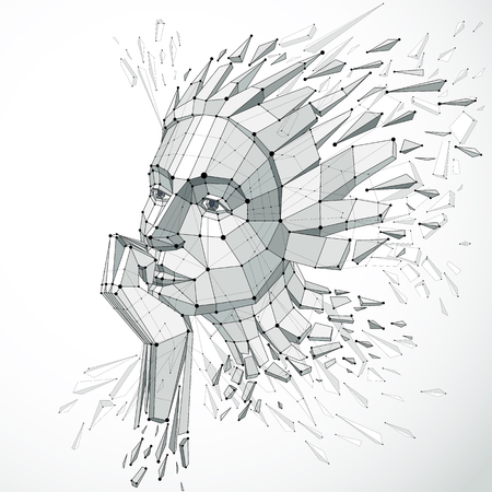3d vector illustration of human head created in low poly style. Face of pensive female, smart person. Intelligence allegory, artistic deformed wireframe object broken into splinters and fragments. Vettoriali