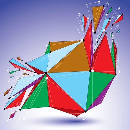 Perspective demolished shape, lines and dots connected, bright polygonal digital wireframe object. Explosion effect, faceted element cracked into multiple fragments. Communication technology. Illustration