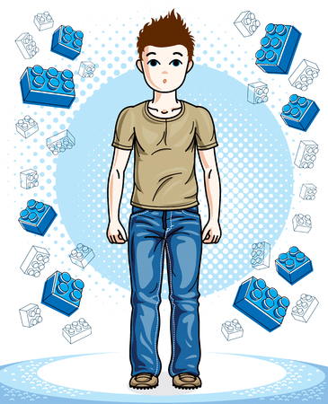 Beautiful happy young teenager boy posing wearing fashionable casual clothes. Vector beautiful human illustration. Childhood lifestyle clip art. Illustration